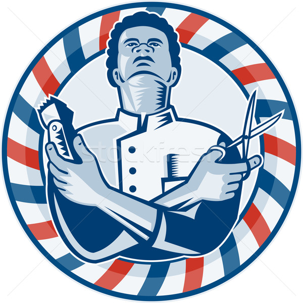 Barbier Pol Haar Schere Retro Illustration Stock foto © patrimonio