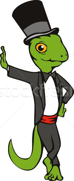Cartoon gekko top hoed smoking Stockfoto © patrimonio