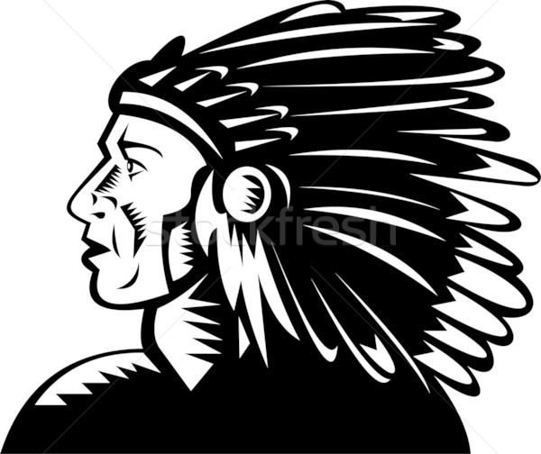 native american indian chief with headdress Stock photo © patrimonio