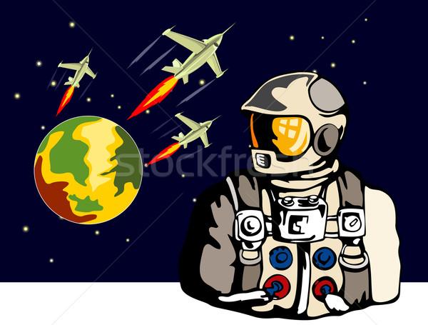 Astronauta retro ilustración planeta cúpula estilo retro Foto stock © patrimonio