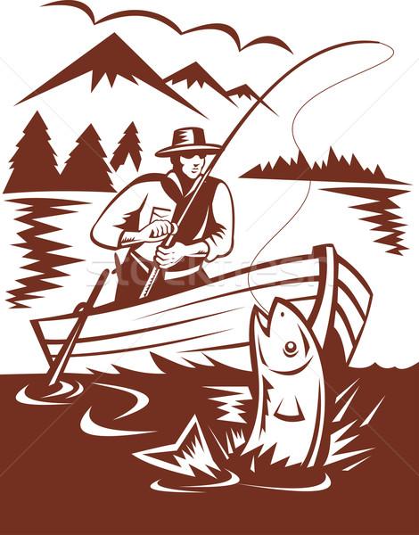 Volar pescador trucha barco ilustración hombre Foto stock © patrimonio