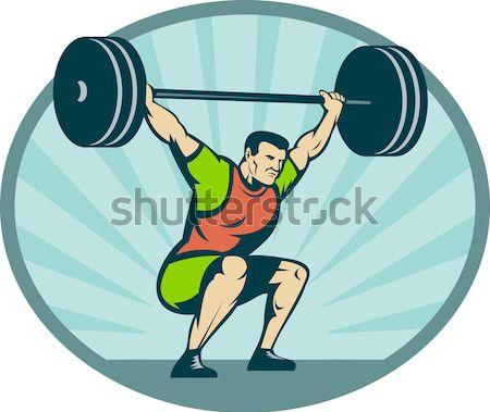 Weightlifter Lifting Barbell Retro Stock photo © patrimonio