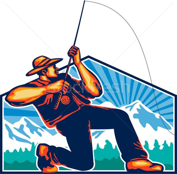 Fly Fisherman Reeling Fishing Rod Retro Stock photo © patrimonio