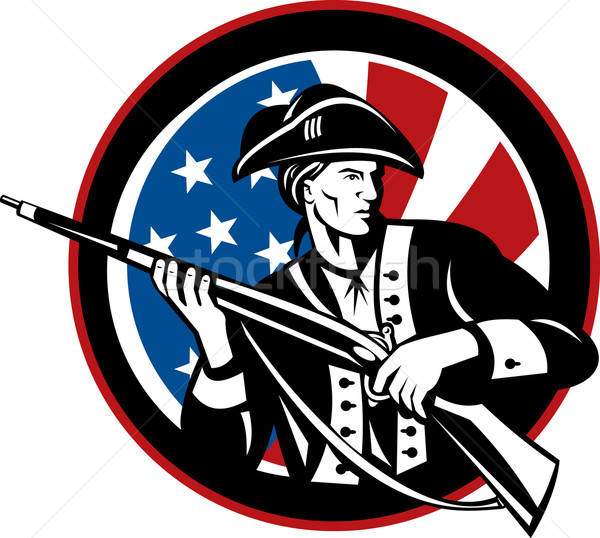 Stock photo: American revolutionary soldier with rifle and flag