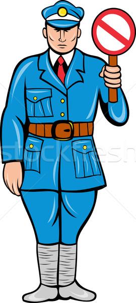 Rendőr stoptábla áll retró stílus illusztráció rendőrtiszt Stock fotó © patrimonio