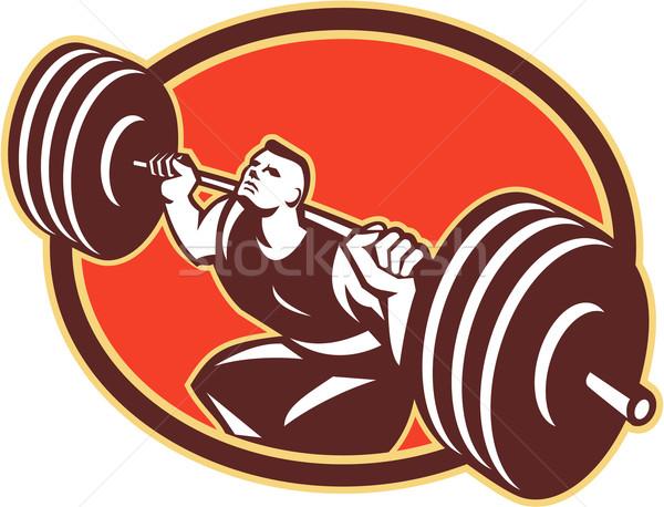 Weightlifter Lifting Barbells Cross-fit Retro Stock photo © patrimonio
