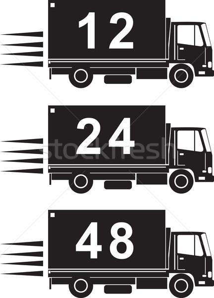 Camion di consegna retro illustrazione camion numeri 12 Foto d'archivio © patrimonio