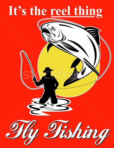 Fly fisherman catching trout with fly reel Stock photo © patrimonio