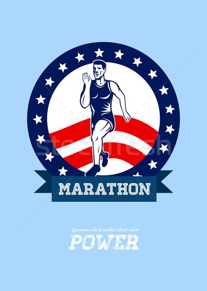Amerykański maraton runner moc plakat kartkę z życzeniami Zdjęcia stock © patrimonio