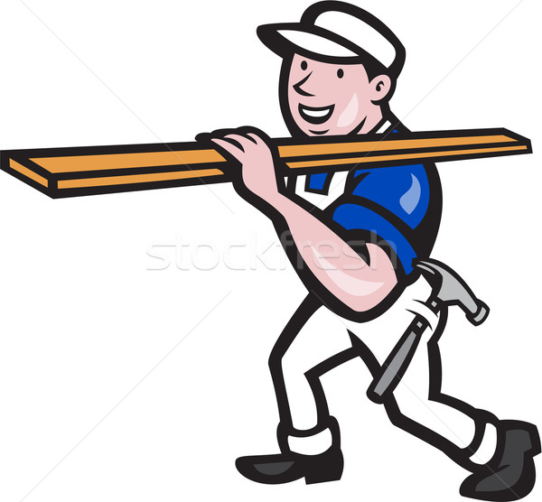 Carpenter Worker Carrying Timber Cartoon Stock photo © patrimonio