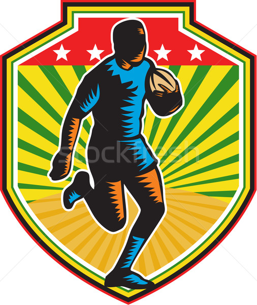 Rugby Player Running Ball Shield Retro Stock photo © patrimonio