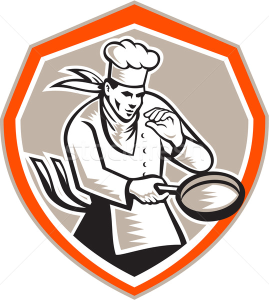 şef pişirmek tava Retro örnek Stok fotoğraf © patrimonio