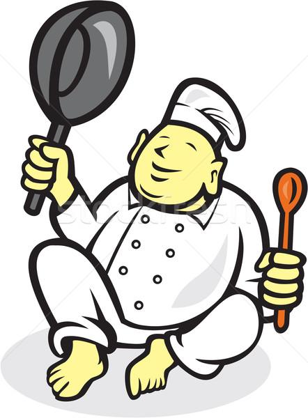 Vet buddha chef kok vergadering cartoon Stockfoto © patrimonio