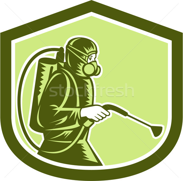 Pest Control Exterminator Spraying Shield Retro  Stock photo © patrimonio
