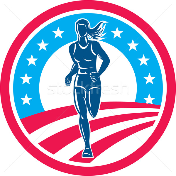 Stock photo: American Female Triathlete Marathon Runner Circle
