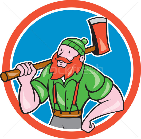 Paul Bunyan LumberJack Circle Cartoon Stock photo © patrimonio