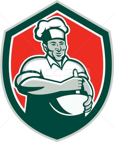 Baker Chef Cook Mixing Bowl Shield Retro Stock photo © patrimonio