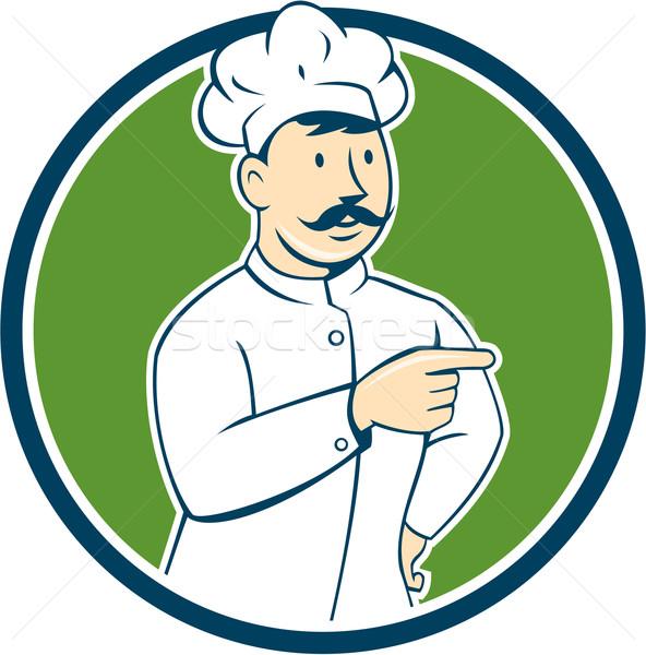 Chef Cook Mustache Pointing Circle Cartoon Stock photo © patrimonio