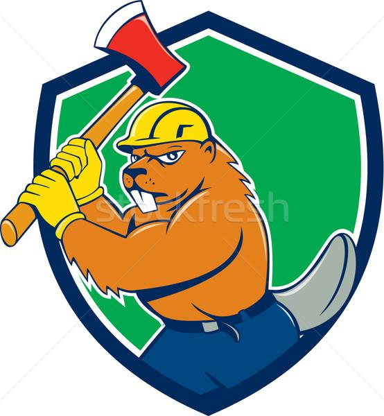 Stock photo: Beaver Lumberjack Wielding Ax Shield Cartoon