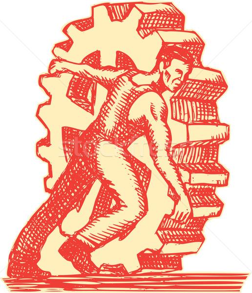Fabrikarbeiter cog Rad Gravur Stil Stock foto © patrimonio
