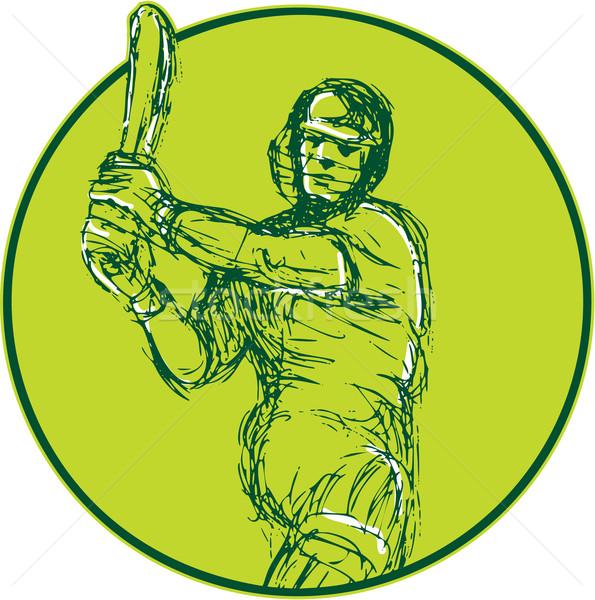 Cricket Player Batsman Batting Drawing Stock photo © patrimonio