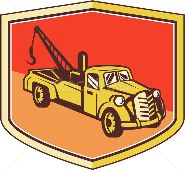 Vintage Tow Truck Wrecker Shield Retro Stock photo © patrimonio