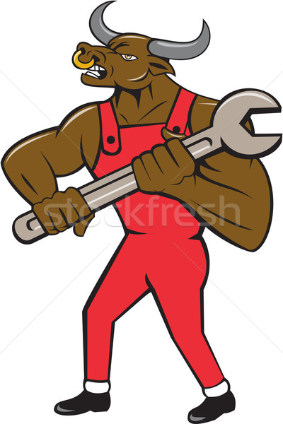Mechanic Minotaur Bull Spanner Isolated Cartoon Stock photo © patrimonio