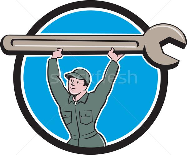 Mechanic Lifting Spanner Wrench Circle Cartoon Stock photo © patrimonio