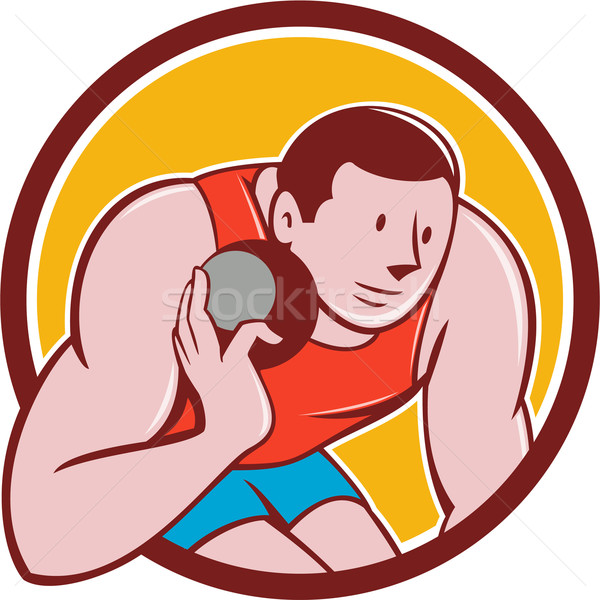 Shot track veld atleet cirkel cartoon Stockfoto © patrimonio
