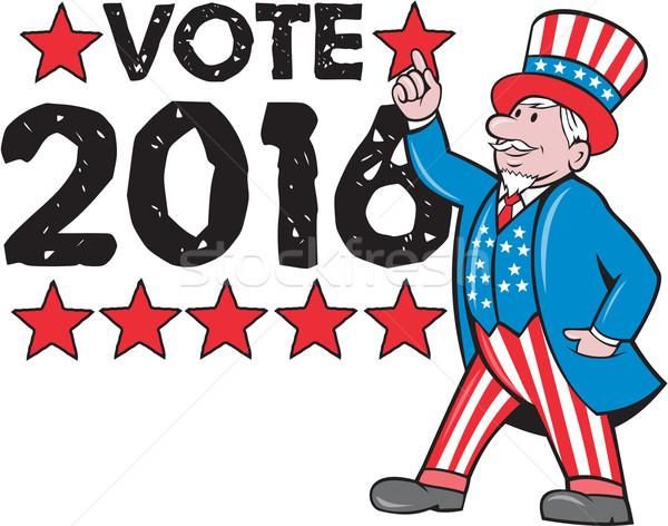 Votación 2016 tío mano senalando hasta Foto stock © patrimonio