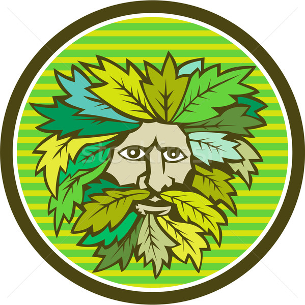 Green Man Foliate Head Circle Retro Stock photo © patrimonio