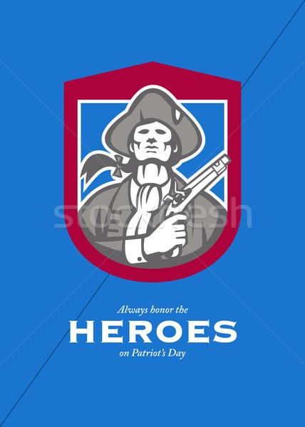 Dzień kartkę z życzeniami amerykański patriota tarcza człowiek Zdjęcia stock © patrimonio