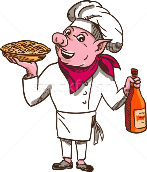 Pig Cook Pie Wine Bottle Cartoon Stock photo © patrimonio