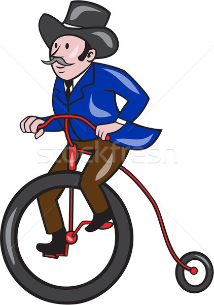 Gentleman Riding Penny-farthing Cartoon Stock photo © patrimonio