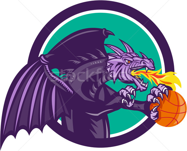 Dragon Fire Holding Basketball Circle Retro Stock photo © patrimonio