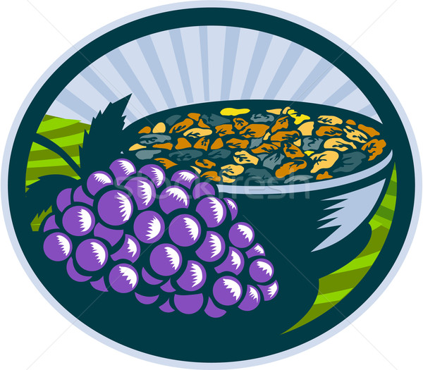 Grapes Raisins Bowl Oval Woodcut Stock photo © patrimonio
