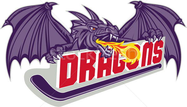 Dragon feu hockey bâton rétro illustration Photo stock © patrimonio