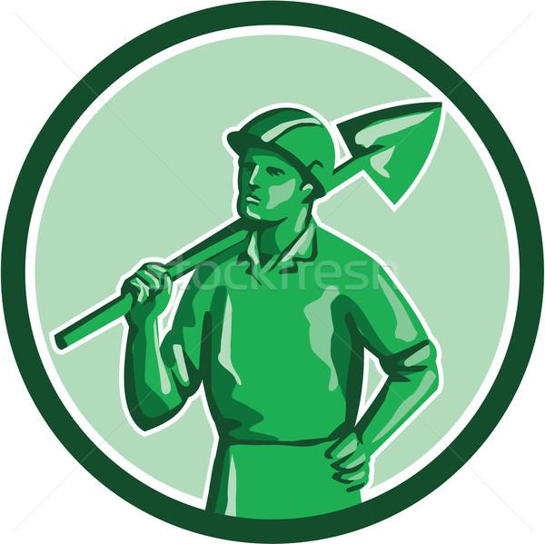 Green Miner Holding Shovel Circle Retro Stock photo © patrimonio