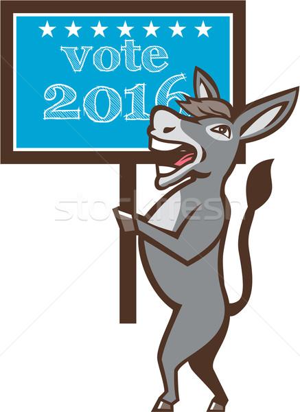 Stemming 2016 democraat ezel mascotte cartoon Stockfoto © patrimonio