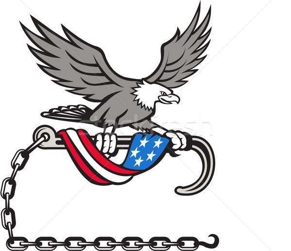 Foto stock: Americano · Águia · gancho · bandeira · retro · ilustração