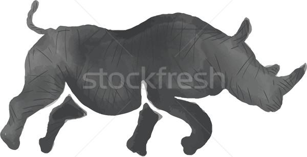 Rhinoceros Silhouette Running Watercolor Stock photo © patrimonio