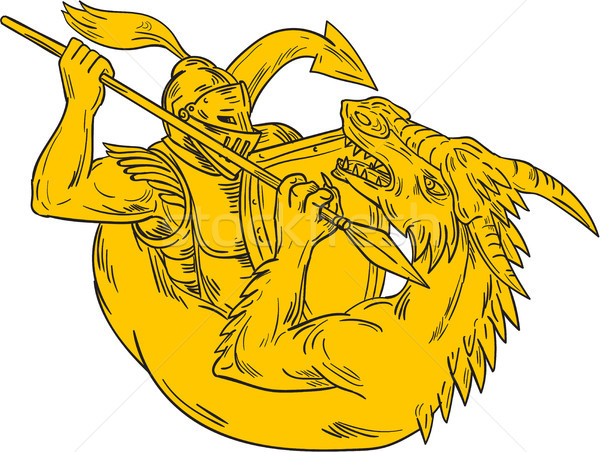 Knight Fighting Dragon Spear Drawing Stock photo © patrimonio