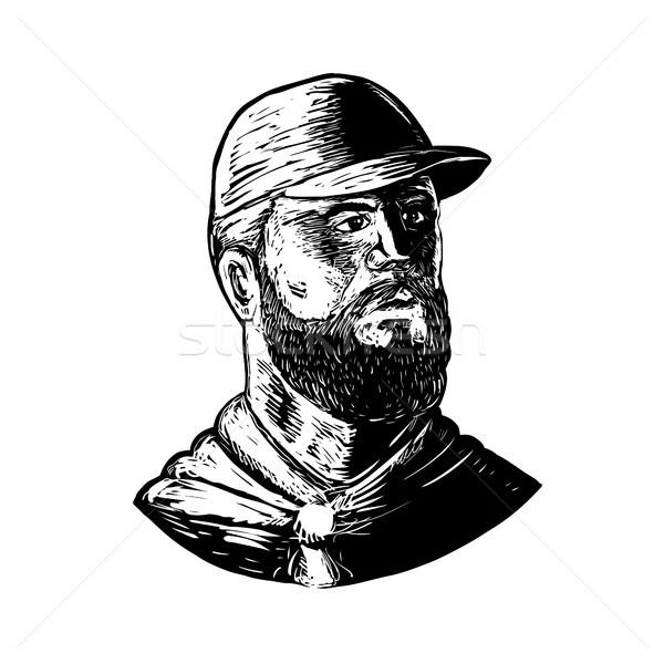 Bearded Chef Scratchboard  Stock photo © patrimonio