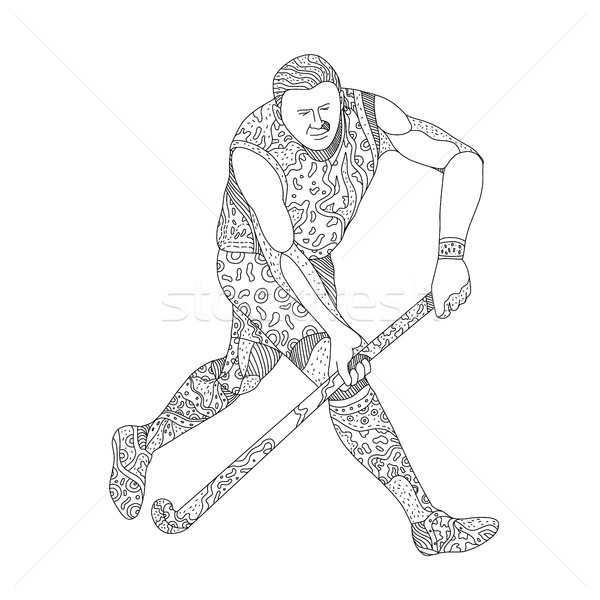 Field Hockey Player Doodle Stock photo © patrimonio