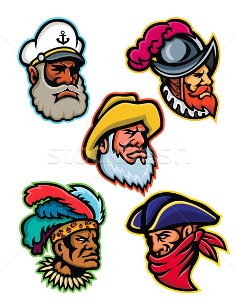 Explorers, Captains and Warrior Mascot Stock photo © patrimonio