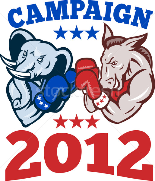 Democrat Donkey Republican Elephant Campaign 2012 Stock photo © patrimonio