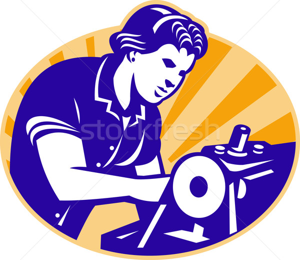 Female Machinist Seamstress Worker Sewing Machine Stock photo © patrimonio