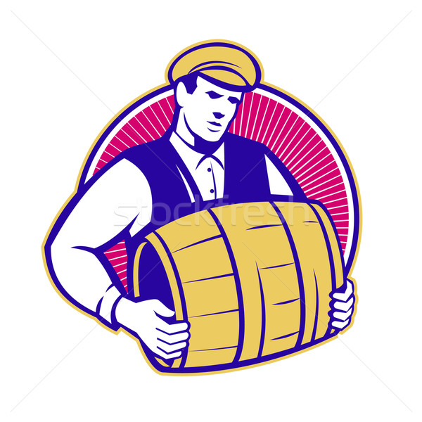 Bartender Carrying Beer Keg Retro Stock photo © patrimonio