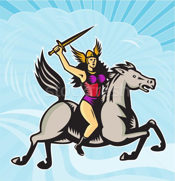 Amazon harcos lovaglás ló illusztráció mitológia Stock fotó © patrimonio