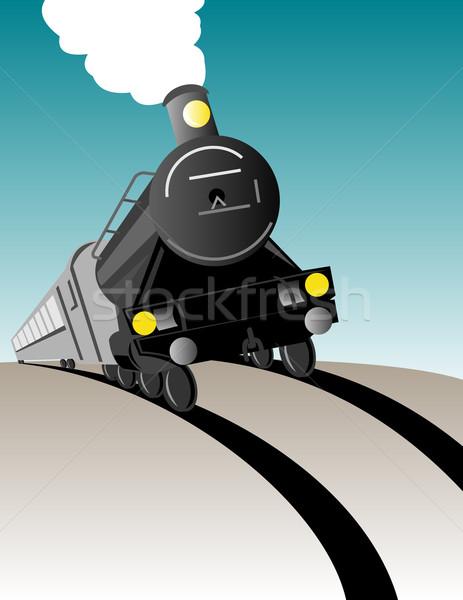 Vintage vapor trem locomotiva ilustração para cima Foto stock © patrimonio